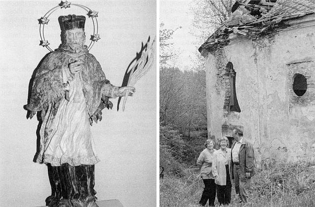 Socha sv. Jana Nepomuckého ze zámecké kaple v Dolejším Krušci a tehdejší stav kaple na snímku ze stránek krajanského měsíčníku v roce 1994