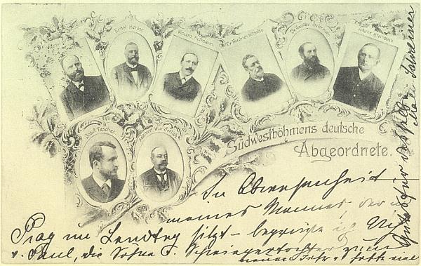 """Na pohlednici s německými """"šumavskými"""" poslanci (Dr. Gustav Schreiner je na ní druhý zprava, hned nalevo vedle Dr. Friedrich Nitsche, dole vlevo pak Josef Taschek) zůstává zvláště pozoruhodné, že je psána roku 1901 jeho paní Mali Schreinerovou"""