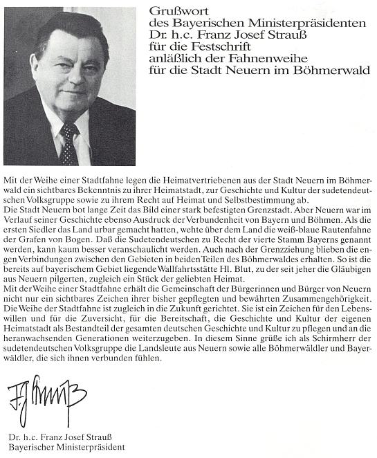 """Pozdravné slovo bavorského ministerského předsedy Franze Josefa Strausse ke knize """"Erinnerungen an Dahoam"""""""