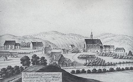 Zlatokorunský klášter už po svém zrušení na kresbě z roku 1808, dvacet let po smrti opata Bylanskyh
