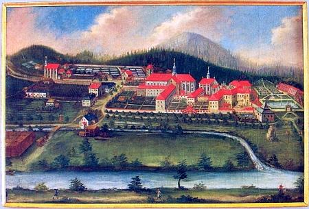 Veduta Zlaté Koruny z druhé půle 18. století, nyní v majetku třeboňského Státního oblastního archivu