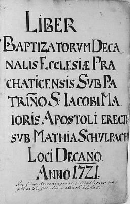 Titulní list (1721) prachatické křestní matriky, kde jsou vedle jeho narození zaznamenána i narození několika jeho sourozenců z rodiny Bylanských z Bylan
