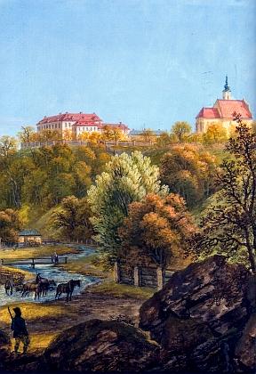 Pohled na zámek v Chýnově na detailu kvaše Ferdinanda Runka, malíře ve schwarzenberských službách, vzniklém někdy kolem roku 1804, tedy asi 15 let poté, co tu Bylansky skonal