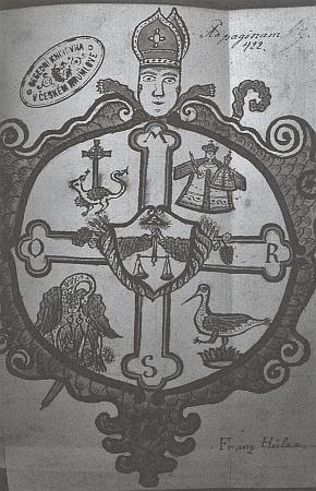 Nákres jeho opatského znaku v rukopisu zlatokorunského faráře Bartoloměje Sládka sveršovanými dějinami kláštera
