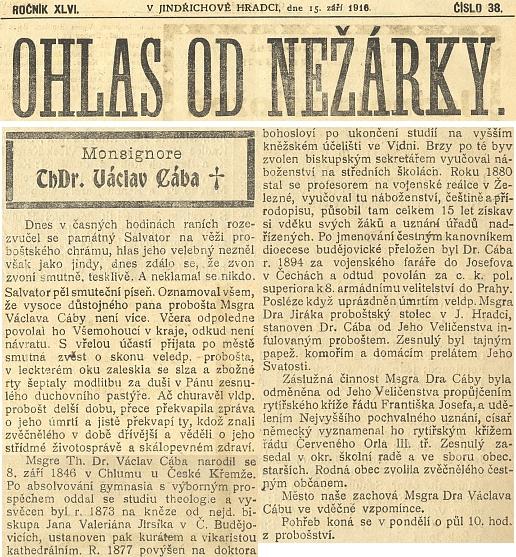 Nekrolog na první straně Ohlasu od Nežárky...
