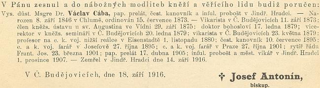 Záznam o jeho úmrtí v ordinariátním listu diecéze