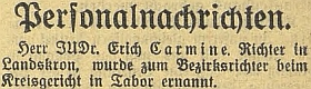 Zpráva o jeho jmenování soudcem v Táboře vbudějovickém německém listě