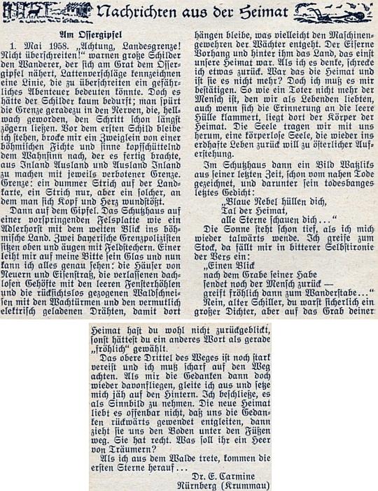 """Dojmy z jeho pobytu na vrcholu hory Ostrý 1. máje roku 1958 - horní třetina cesty nahoru byla ještě """"silně zledovatělá"""""""