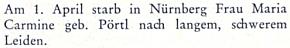 Zpráva o úmrtí jeho ženy Marie 1. dubna roku 1979 v Norimberku