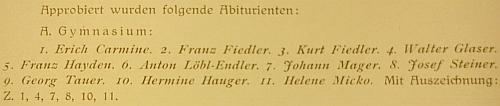 Záznam o jeho maturitní zkoušce s vyznamenáním na německém státním vyšším reálném gymnáziu v Českých Budějovicích ve školním roce 1924/1925