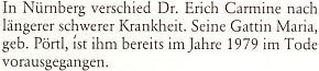 Zpráva o jeho skonu na stránkách krajanského měsíčníku v roce 1983