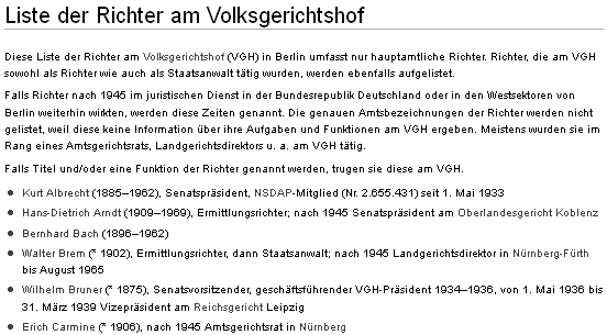 Jeho jméno, figurující už kvůli začátečnímu písmenu příjmení mezi prvními na seznamu soudců berlínského Volksgerichtshofu s poznámkou, že po roce 1945 působil jako soudní rada v Norimberku i nadále
