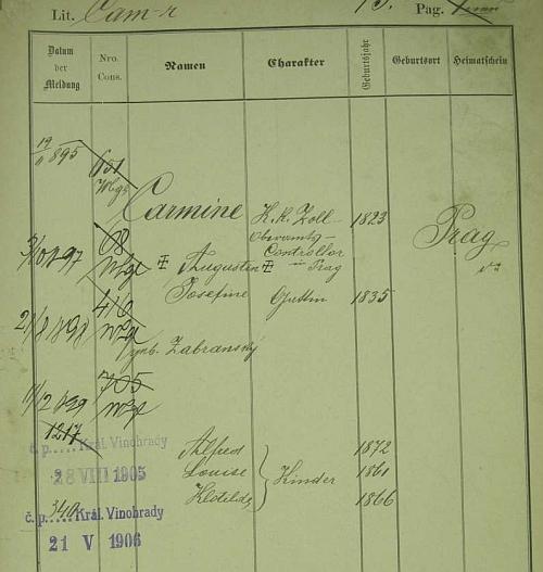 Pražská policejní přihláška jeho děda a babičky, roz. Zabransky, i s výčtem jejich dětí, z nichž Alfred byl Erichovým otcem