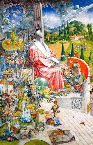 """Východoněmecký malíř Werner Tübke (1929-2004) nazval tento svůj obraz, který je dnes součástí sbírek Neue Nationalgalerie vBerlíně, """"Životní vzpomínky JUDr. Schulzeho (III)"""" - podobně jako kdysi Holanďan Hieronymus Bosch se v něm pokusil zachytit pokryteckou zrůdnost lidské justice v některých jejích historických údobích"""