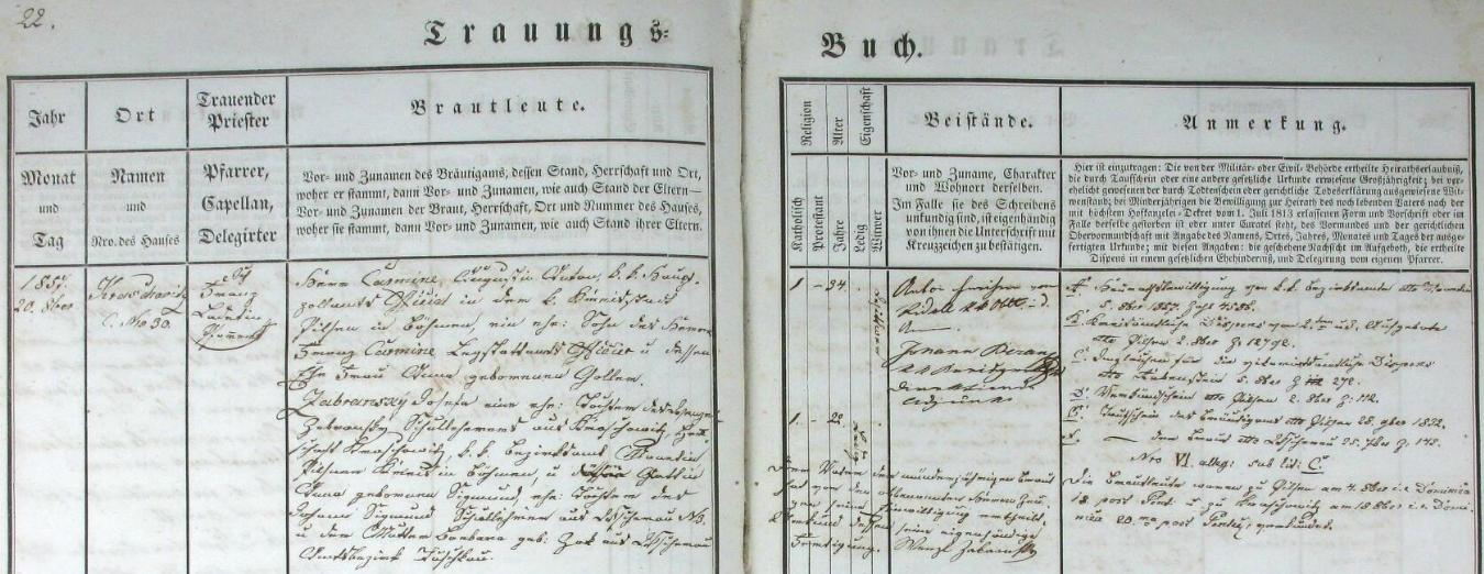 Německý záznam krašovické oddací matriky o svatbě jeho děda Augusta Antona Carmineho s Josefou Zabranskou