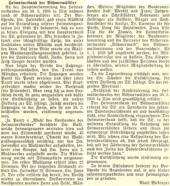 Podle této zprávy Adolfa Webingera o volbě představenstva sdružení Heimatverband der Böhmerwäldler  byl Dr. Erich Carmine jeho referentem pro tisk