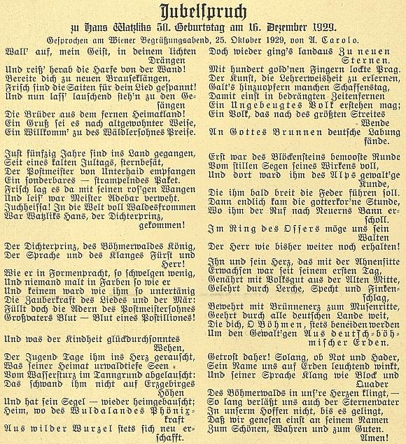 Jeho báseň, přednesená jím samým na vídeňském večeru k padesátinám Hanse Watzlika