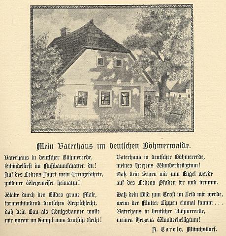 """Báseň o """"otcovském"""" domě s vyobrazením na první straně jednoho z čísel časopisu Waldheimat"""