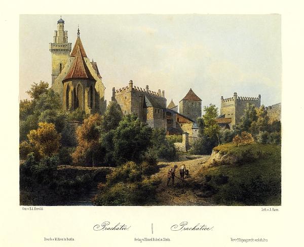 Prachatice na barevné litografii Augusta Hauna podle kresby Eduarda Herolda (1864)