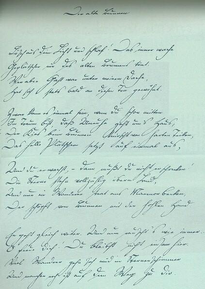Rukopis básně Der alte Brunnen