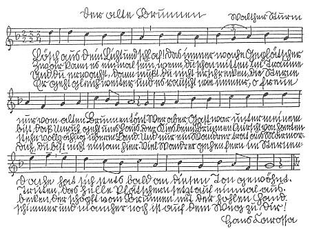 Notový záznam zhudebněné básně Stará studna s nápěvem Walthera Sturma