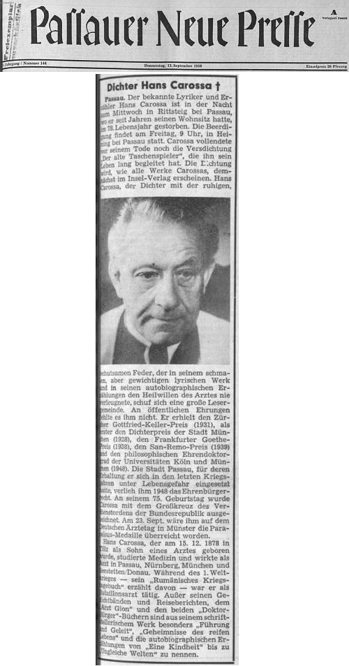 Úmrtní oznámení na titulní straně pasovského deníku ze 13. září roku 1956