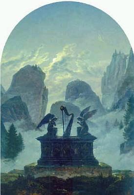 Harfa na sarkofágu v horské krajině čili Památník Goethovi (1832)