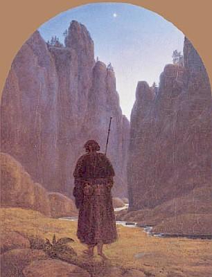 Obraz Pilger in Felsental (Poutník v údolí mezi skalami) zroku 1820