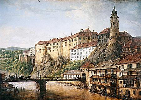 Panorama zámku v České Krumlově s Lazebnickým mostem zachytil Ferdinand Runk kvašem na papíře v roce 1824, tedy ještě 13 let předtím, než tudy projel Carus