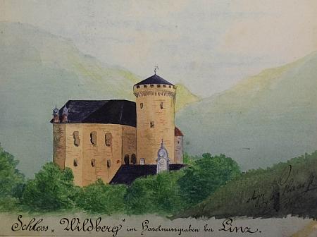 Zámek (hrad) Wildberg, zmíněný v jeho cestopisné črtě, na obraze Franze Haase z konce 19. století