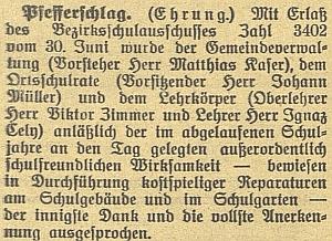 """Zpráva v českobudějovickém německém listu jej zmiňuje jako člena učitelského sboru ve """"Fefrech"""" ještě za řídícího učiteleZimmera"""