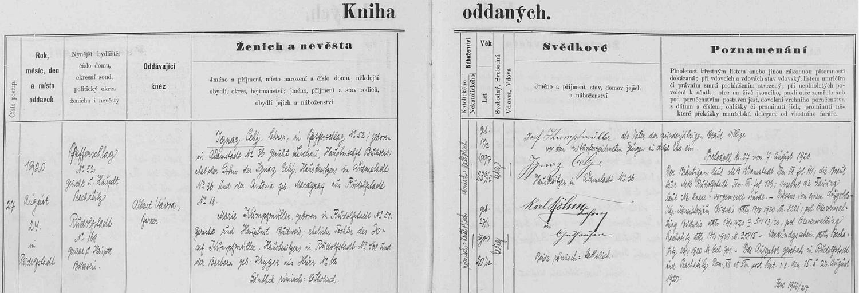 Záznam o jeho svatbě v rudolfovské oddací matrice