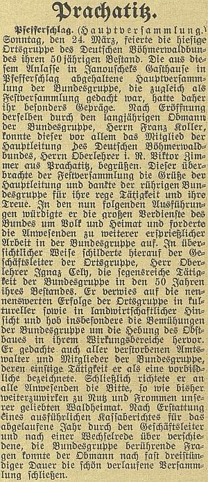 Zpráva o valné hromadě místní skupiny sdružení Deutscher Böhmerwaldbund ve Fefrech s jeho proslovem ve funkci jednatele