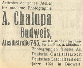 """Inzerát otcovy firmy z června 1939 """"na nábřeží"""" Mlýnské stoky"""