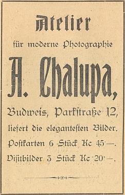 """Otcův """"Ateliér pro moderní fotografii"""" sídlil rok po svém založení roku 1921 na českobudějovické adrese """"Parkstraße 12"""""""