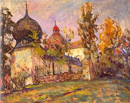 Poutní kostel sv. Anny u Kraselova na olejomalbě Jiřího Rejžka z roku 1952
