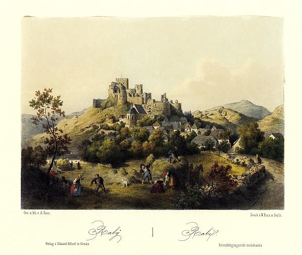 Hrad Rabí na barevné litografii Augusta Hauna (1864)