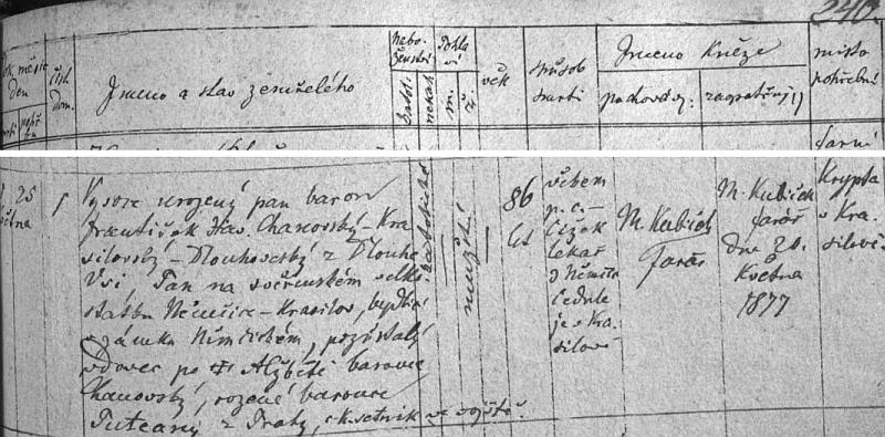 """Záznam o jeho úmrtí v Němčicích a uložení ostatků """"pozůstalého vdovce po †Alžbětě baronce Chanovský, rozené baronce Puteany z Prahy a c.k. setníka ve vojště"""" do krypty """"v Krasilově"""", kde je i """"cedule"""" se zjištěním příčiny smrti """"věkem"""""""