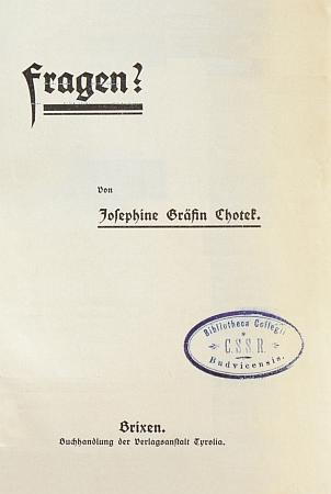 Obálka její knihy (1912?)