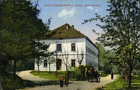 Lázně v Dobré Vodě u Záblatí na pohlednici Josefa Seidela z počátku 20. století