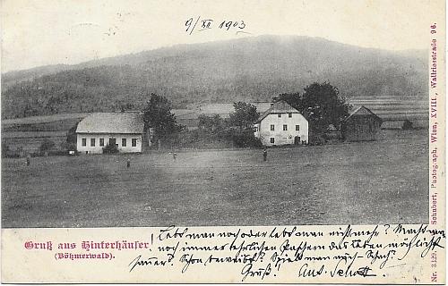 Stará pohlednice z rodných Zadních Chalup