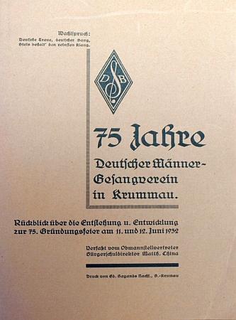 Obálka brožury k 75 letům mužského pěveckého sboru vČeském Krumlově (1932)
