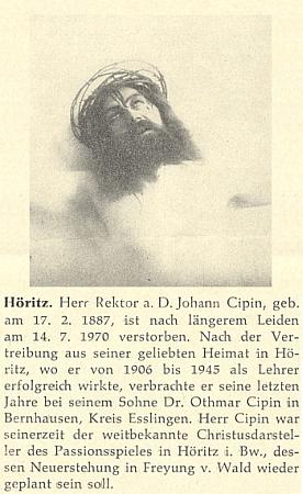 """Nekrolog v """"Hoam!"""" provázel rovněž snímek ze scény Kristova ukřižování"""