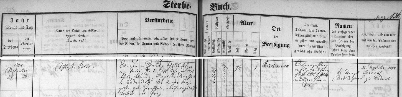 Záznam o jeho skonu v Knize zemřelých obce Boršov nad Vltavou