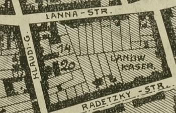 """Po něm pojmenovaná českobudějovická ulice (dnes Jeronýmova) je na plánu Franze Ladsperskyho z roku 1911 psána s počátečním """"K"""""""