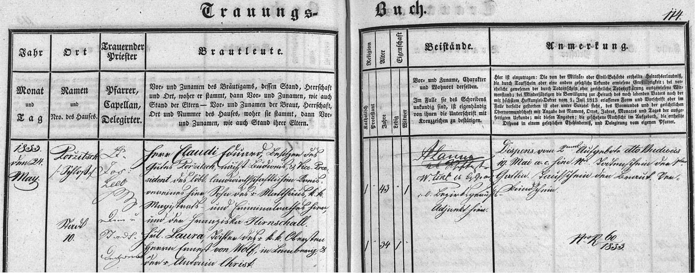 Záznam českobudějovické oddací matriky o jeho svatbě