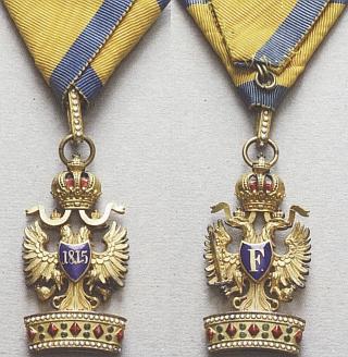Řád Železné koruny, který získal v únoru roku 1872