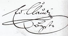 """Claudiho podpisy se zkratkou """"Bgtsr."""", tedy """"Bürgermeister"""""""