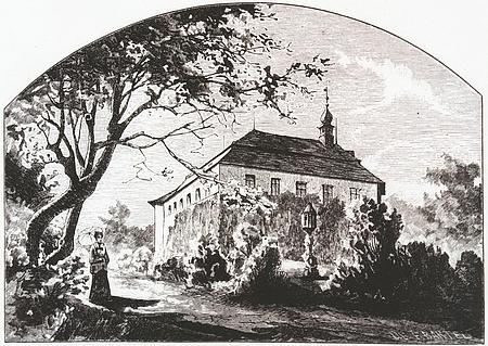 Pohled na zámek v Poříčí u Boršova nad Vltavou v době, kdy patřil Claudimu, na litografii Františka Bartela