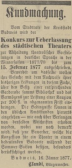 """Tady vyhlašuje konkurz na přenechání městského divadla v """"zimní sezóně"""" 1877/78"""